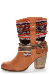 Steve Madden Tolteca Cognac Leather Southwest Mid-Calf Boots