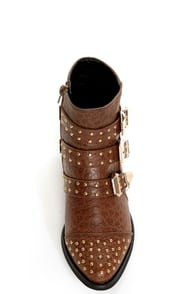 Shoe Republic LA Arly Brown Ostrich Studded Ankle Boots at Lulus.com!