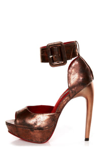 Shoe Republic LA Belise Bronze Metallic Platform Heels