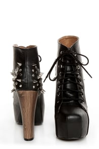 Shoe Republic LA Terza Black Spiked and Studded Lace-Up Booties at Lulus.com!