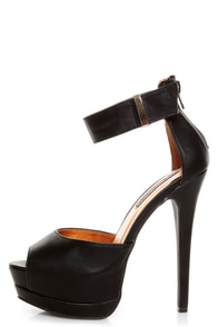 Shoe Republic LA Catarina Black Ankle Strap Platform Heels