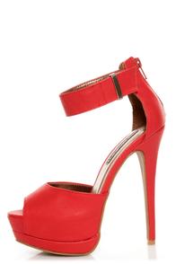 Shoe Republic LA Catarina Red Ankle Strap Platform Heels