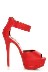Shoe Republic LA Catarina Red Ankle Strap Platform Heels at Lulus.com!