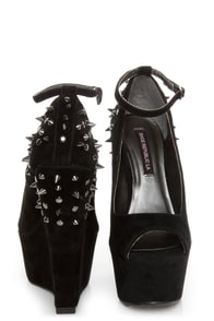 Shoe Republic LA Deare Black Spiked and Studded Platform Wedges at Lulus.com!