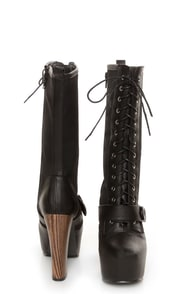 Shoe Republic LA Fiorina Black Belted Lace-Up Platform Boots