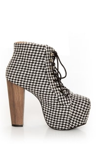 Shoe Republic LA Gardena Black Houndstooth Lace-Up Ankle Boots