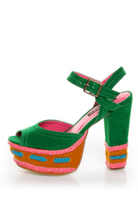 Shoe Republic LA Gothic Jade Green Braided Color Block Heels