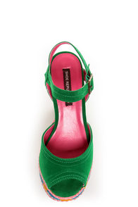 Shoe Republic LA Gothic Jade Green Braided Color Block Heels at Lulus.com!
