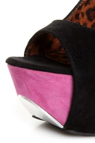 Shoe Republic LA Hoots Black and Pink Mega Platform Heels at Lulus.com!