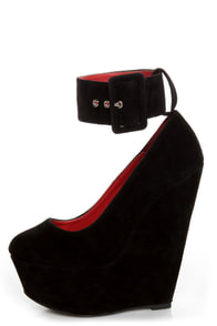 Shoe Republic LA Lynn Black Ankle Strap Mega Platform Wedges
