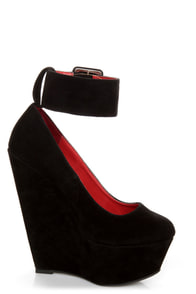 Shoe Republic LA Lynn Black Ankle Strap Mega Platform Wedges at Lulus.com!