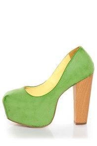 Shoe Republic LA Maple Apple Green Burnished Platform Heels