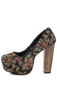 Shoe Republic LA Media Black Floral Tapestry Platform Heels