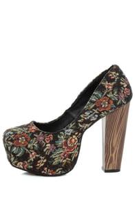 Shoe Republic LA Media Black Floral Tapestry Platform Heels