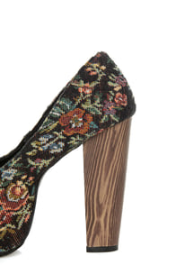 Shoe Republic LA Media Black Floral Tapestry Platform Heels at Lulus.com!