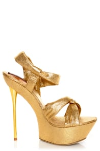 Shoe Republic LA Novela Gold Platform Heels at Lulus.com!