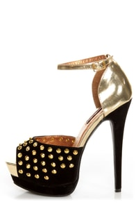 Shoe Republic LA Shiva Black and Gold Studded Platform Heels