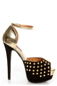 Shoe Republic LA Shiva Black and Gold Studded Platform Heels at Lulus.com!