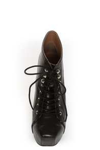 Shoe Republic LA Step Black Lace-Up Platform Ankle Boots at Lulus.com!