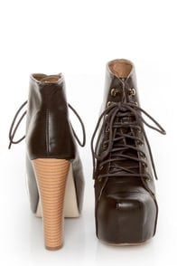 Shoe Republic LA Step Brown Lace-Up Platform Ankle Boots at Lulus.com!