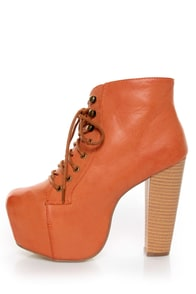 Shoe Republic LA Step Orange Lace-Up Platform Ankle Boots