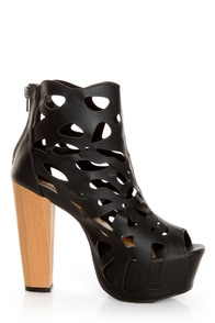 Shoe Republic LA Versa Black Laser Cutout Platform Booties at Lulus.com!