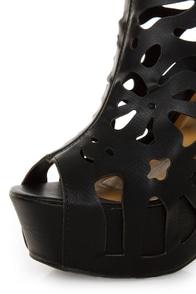 Shoe Republic LA Versa Black Laser Cutout Platform Booties at Lulus.com!
