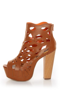 Shoe Republic LA Versa Tan Laser Cutout Platform Booties