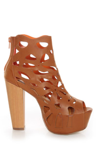 Shoe Republic LA Versa Tan Laser Cutout Platform Booties at Lulus.com!