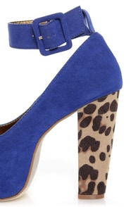 Shoe Republic LA Vicenza Blue and Leopard Platform Heels at Lulus.com!