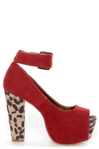 Shoe Republic LA Vicenza Wine Red and Leopard Platform Heels at Lulus.com!