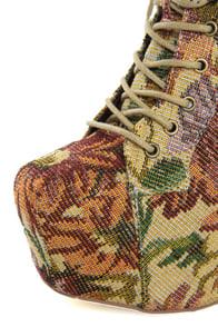 Shoe Republic LA Visalia Gold Floral Tapestry Platform Booties at Lulus.com!
