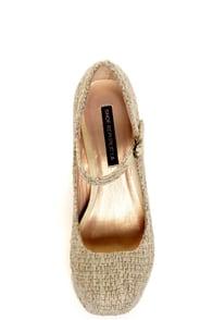 Shoe Republic LA Grand Beige Tweed Mary Jane Platform Heels