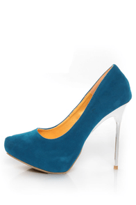 Shoe Republic LA Melody Teal Silver Stiletto Pumps