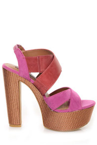 Shoe Republic LA Prime Fuchsia & Red Platform Sandals