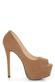 Speed Limit 98 Giant Taupe Peep Toe Platform Pumps at Lulus.com!