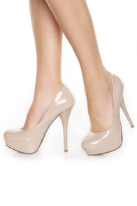My Delicious Jones Dark Beige Patent Platform Pumps at Lulus.com!