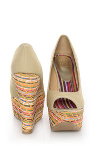 Speed Limit 98 Paco Beige Cotton Woven Wedges at Lulus.com!