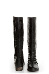 Very Volatile Fringe Black Ruched and Shredded Riding Boots at Lulus.com!