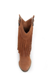 Very Volatile Hillside Tan Fringe Leather Cowboy Boots at Lulus.com!