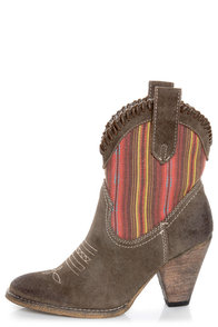 Very Volatile Silverton Taupe Striped Mid-Calf Cowboy Boots