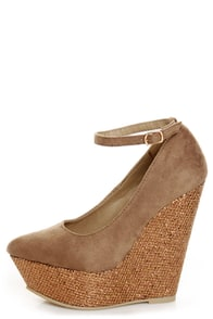 Diva Lounge Cibian 01 Taupe Pointed Glitter Platform Wedges