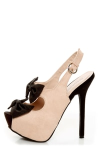 Diva Lounge Felina 22 Black and Blush Bow Time Slingback Heels
