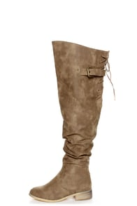 Diva Lounge Kiora 01 Taupe Slouchy Over-The-Knee Boots
