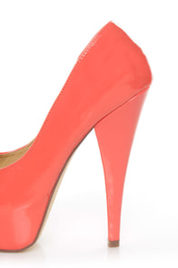 Diva Lounge Paloma 2 Hot Coral Patent Peep Toe Platform Pumps at Lulus.com!