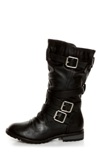 Diva Lounge Tina 13A Black Slouchy Belted Combat Boots
