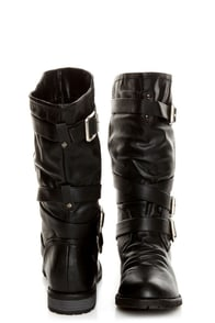 Diva Lounge Tina 13A Black Slouchy Belted Combat Boots at Lulus.com!