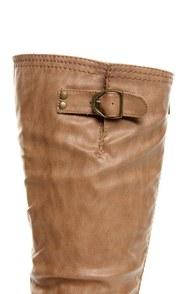 Wild Diva Tosca 01A Camel Knee High Riding Boots