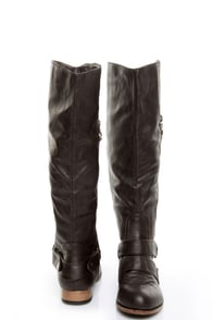 Wild Diva Tosca 19 Brown Belted Riding Boots