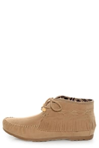 Diva Lounge Tribute 10 Natural Fringe Moccasin Booties